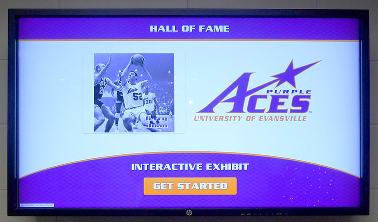 purple aces hof display kiosk