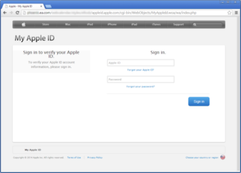 Fake Apple ID Sign In Page