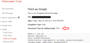 Google Webmaster Tools Page Load Speed