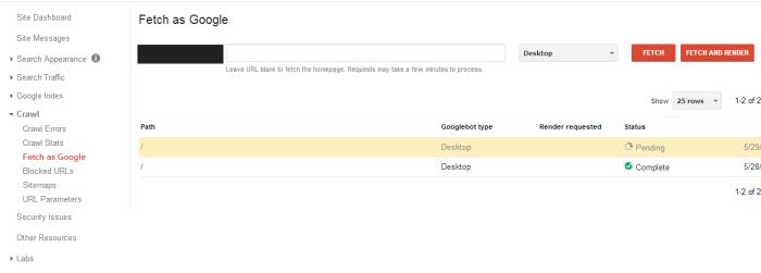 Google Webmaster Tools Pending
