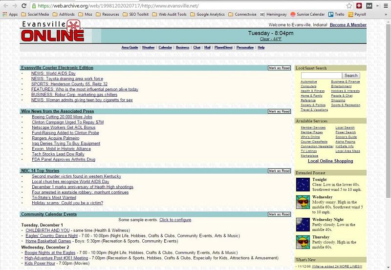 Evansville Online Home Page 1998