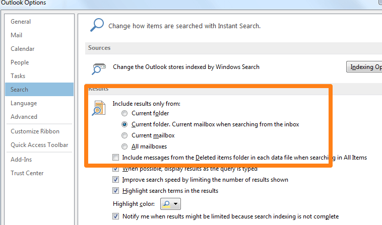 how do i set the default search folder in outlook 2013