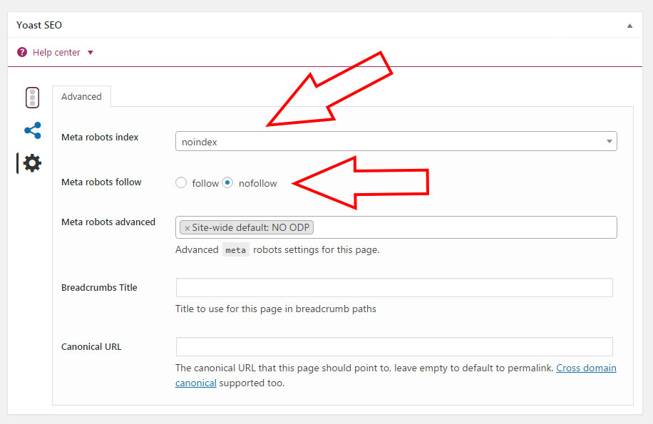hide pages from google search with Yoast SEO WordPress Plugin