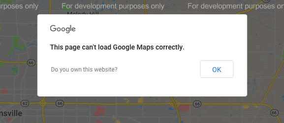 this page can't load google maps correctly warning