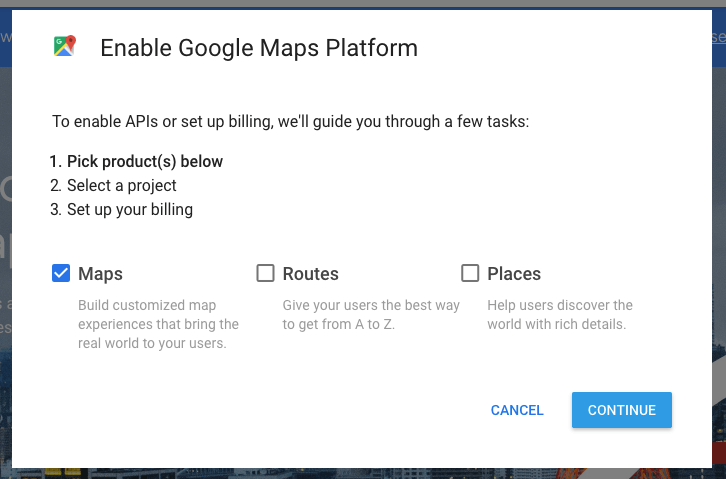 Enapble the Google Maps Platform